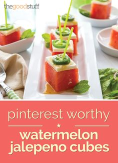 Watermelon-Jalapeno Bites - 10 Simple & Satisfying One-Bite Appetizers - thegoodstuff One Bite Appetizers, Easy Appetizer Recipes, Appetizers For Party, Jalapeno Bites, Fingers Food, First Bite, Snacking, Summer Recipes, Mexican Food Recipes