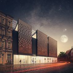 Library in Wrocław by Klawe Biuro, via Behance - Neon glow effect Brick Architecture, Architecture Visualization, Concept Architecture, Amazing Architecture, Interior Architecture, System Architecture, Library Architecture, Building Skin, Building Facade
