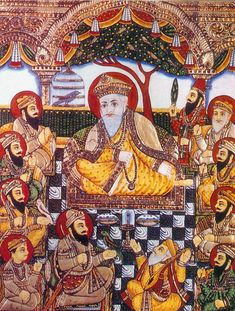 A very rare Tanjore-style painting ( Tanjore Oviyam ) from the late 19th century, depicting the ten-Sikh Gurus --  with Guru Nanak Dev in the center and Bhai Bala and Bhai Mardana.