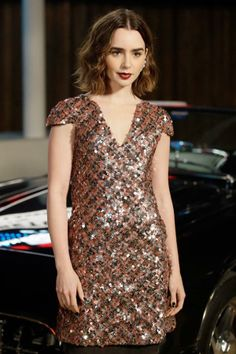 Lily Collins wore this dress on a mechanical bull, really.