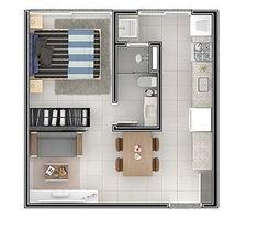 House Floor Design, Small House Design, Studio Floor Plans, House Floor Plans, Apartment Layout, One Bedroom Apartment, Home Design Decor, Home Design Plans, Appartement Design