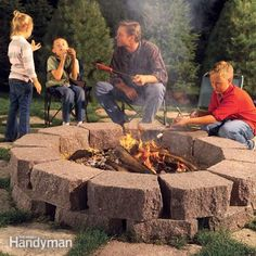 Build this simple, attractive fire ring with retaining wall stone surrounded by flagstone, creating the perfect spot for cookouts, family gatherings and casual conversation.