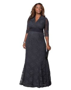 222a7bf79d0 Kiyonna Women s Plus Size Screen Siren Lace Gown Twilight Grey