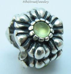 Pandora Sterling Silver 925 European Bead Charm Birthday blooms Peridot 790580PE #Pandora #European