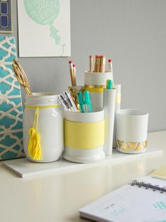 Desk decor. Paint the inside of jars and bowls and such for a customized pencil and office supply holder. Genius! Use cheap craft paint to save money, random stuff from the house
