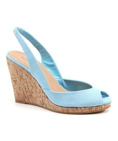 This Diba Blue Dream of You Peep-Toe Wedge Sandal by Diba is perfect! #zulilyfinds