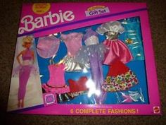 Vintage Barbie 6 Fashion Gift Set Pack Dress 782D  NRFB 1990 Shoe Outfit 14 pc