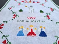 Danish 1963 handmade table runner with Christmas carol theme. | Etsy Danish Christmas, Scandi Christmas, Christmas Cross, Merry Christmas, A Christmas Carol Themes, Christmas Decorations, Handmade Table, Scandinavian Design, Cross Stitch Embroidery