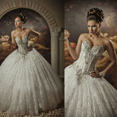 Arabic Bridal Gowns Strapless Sweetheart Sleeveless Lace Ball Gown Crystals Sequins Beaded Wedding Dresses BO2337_New Ball Gown Wedding Dress factory at 27dress.com
