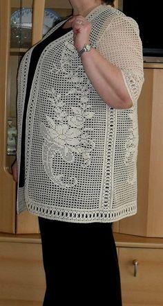 Irish crochet &: FILET CROCHET CARDIGAN ... ФИЛЕЙНЫЙ КАРДИГАН - РАБОТА JAGODA-MALINA