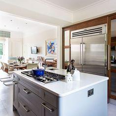 Practical kitchen layout | Stylish pale grey kitchen-diner | Kitchen tour | housetohome.co.uk