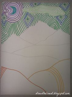 line landscape drawing - Google Search