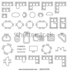 Standard furniture symbols used in architecture plans icons set, graphic design elements, outlined, isolated on white background, vector illustration. Architecture Symbols, Interior Architecture Drawing, Architecture Blueprints, Architecture Concept Drawings, Interior Design Sketches, Architecture Plan, The Plan, How To Plan, House Plan Creator