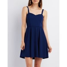 Charlotte Russe Smocked Sweetheart Skater Dress ($25) ❤ liked on Polyvore featuring dresses, cobalt, strappy dress, a line skater dress, smock dress, blue dress and sweetheart dress