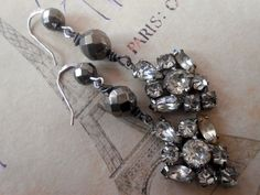 Vintage Rhinestone Paste Assemblage Earrings, Pyrite, Industrial Chic, Repurposed Vintage, Upcycled, Recycled by Vinchique on Etsy https://www.etsy.com/listing/181954940/vintage-rhinestone-paste-assemblage