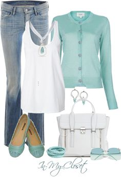 White tank top, baby blue cardigan, boot cut jeans, baby blue flats, white purse.