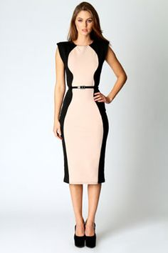 Myla Belted Illusion Midi Dress