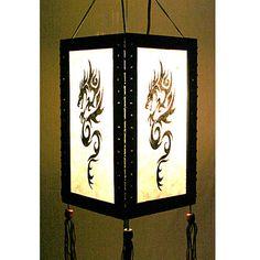 Zen hanging lamp lighting, Wood pendant lamp shade, Hanging lantern, Chinese lantern, Paper lampshade home decor garden decor Dragon HA22