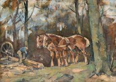 """Span met paarden in het bos. Deze olieverf van Edzard Koning werd in 2013 aangeboden op een veiling in de UK (Peter Francis) en in nov. 2016 bij het Venduehuis in Arnhem. Het werk draagt verso het stempel """"atelier Edzard Koning"""". De erfgenamen gebruiken na 1953 dit stempel om het overgebleven werk in het atelier te merken."""