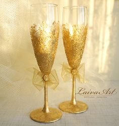Gold Wedding Champagne Flutes Wedding Champagne by LaivaArt