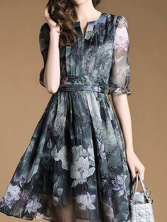 Multicolor Half Sleeve Crew Neck Floral-print Floral Midi Dress - StyleWe.com
