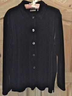 Chicos Design Velvet Blouse Top Tunic Black Womens Size 1 Button Down