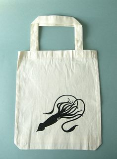 SALE Giant Squid Tote Bag small by hine on Etsy