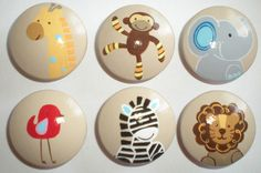 Jungle Woodland Animals Creatures Drawer Knobs Kids Hand Painted Nursery Cabinet Pulls