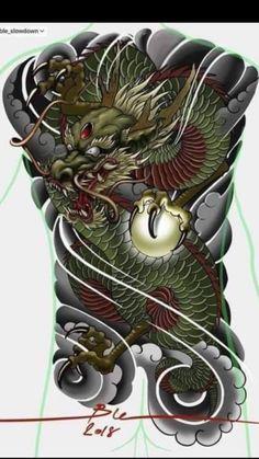 Dragon Tattoo Colour, Japanese Dragon Tattoos, Japanese Tattoo Designs, Yakuza Tattoo, Irezumi, Dragon Art, Tattos, Oriental, China