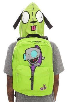 New-Green-Hooded-Invader-Zim-Book-Bag-School-Backpack-GIR-in-Dog-Robot-Suit-RARE