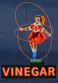 The Skipping Girl Sign or Skipping Girl Vinegar Sign, colloquially known as Little Audrey, is the first animated neon sign in Australia. The sign is located at 651 Victoria Street within the inner Melbourne suburb of Abbotsford. Old Neon Signs, Vintage Neon Signs, Old Signs, Vintage Ads, Vintage Diner, Vintage Menu, Vintage Travel, Vintage Posters, Vintage Style