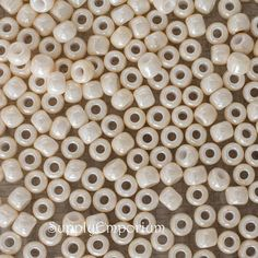 Opaque Luster Light Beige Size 3/0 Toho Seed Beads , 19 Grams Lustered Light Beige 3/0 Seed Beads - 5005, 3-123 Toho Seed Beads