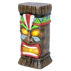 Garden Treasures H Tiki Garden Statue, Lowes solar panel, lights up at night. Tiki Statues, Garden Statues, Tiki Party, Luau Party, Tiki Head, Tiki Bar Decor, Tiki Totem, Hawaiian Tiki, Tiki Mask