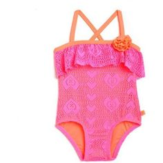 Op Toddler Girl Crochet Cutie One-Piece Swimsuit, Size: 5 Years, Pink