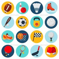 Buy Sport Icons Set by macrovector on GraphicRiver. Sport icons set with soccer golf table tennis balls gloves skate bowling equipment isolated vector illustration. Icon Set, Bowling Equipment, Sports Day, Sport Icon, Icon Collection, Sport Photography, Sport Motivation, Icon Design, Design Elements