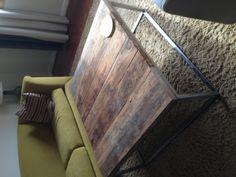 DIY Reclaimed oak welded steel coffee table.