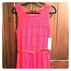 Reddish Coral Lace Dress Coral Lace Dress perfect for afternoon tea, brunch with the girls, or a sweet day party. Perfect for those days when you want to feel free, but put together with minimal effort. Pair with ballet flats to keep it casual and carefree or up the ante with some heels! Dresses Midi