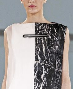 Monochrome marble print dress - printed pattern fashion // Hussein Chalayan SS13