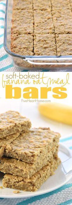 Soft-Baked Banana Oatmeal Bars ~ loaded with wholesome ingredients for a yummy, portable breakfast or snack! Banana Oatmeal Bars, Oatmeal Bars Healthy, No Bake Oatmeal Bars, Oatmeal Recipes, Oatmeal Squares, Vegan Oatmeal, Banana Protein Bars, Oatmeal Yogurt, Healthy Bars