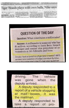 funny headlines | Funny Newspaper Clippings - Hilarious Classifieds and Headlines ...