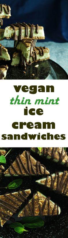 Thin Mint Vegan Ice Cream Sandwiches -