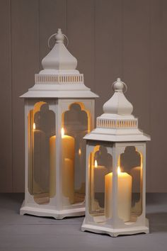 set of two cream garden candle lanterns wedding hallway dining room patio