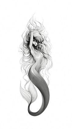 Sirenas - New Ideas Baby Mermaid Tattoo, Little Mermaid Tattoos, Mermaid Sleeve Tattoos, Mermaid Tattoo Designs, Mermaid Thigh Tattoo, Vintage Mermaid Tattoo, Tattoo Baby, Mermaid Artwork, Mermaid Drawings