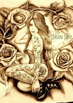 roses and a latina Arte Cholo, Cholo Art, Chicano Drawings, Art Drawings, Chicanas Tattoo, Chicano Love, Arte Fashion, Prison Art, Lowrider Art