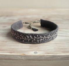 Embroidered Cuff Bracelet - Light Gray Vine Hand Embroidered on Dark Gray Linen
