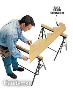 Make your deck building go faster with these seven clever tips from the pros. It's tricks like these that allow professional to build a deck quickly and accurately. Deck Building Plans, Building Stairs, Deck Plans, Deck Stairs, Deck Railings, Handyman Magazine, How To Build Steps, Laying Decking, Deck Construction