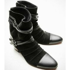Cool Mens Black Leather Goth Fashion Style Cowboy Dress Boots