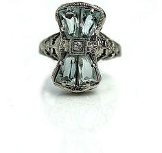 Art Deco Twin Aqua Marine Engagement Ring
