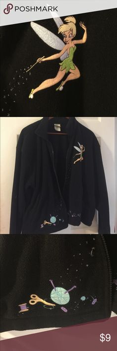 Black fleece Tinker Bell Zip up Black fleece Tinker Bell zip up.  Zipper is broken 😞. Jacket is great condition, warm and very comfortable.  The embroidery is great! I love reasonable offers. Disney Jackets & Coats