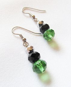 Casual, everyday jewelry: Green, Black, and Silver Dangle Earrings - Green, Black, and Silver Beads on Silver Tone Fishhooks by Katya Valera, $9.00